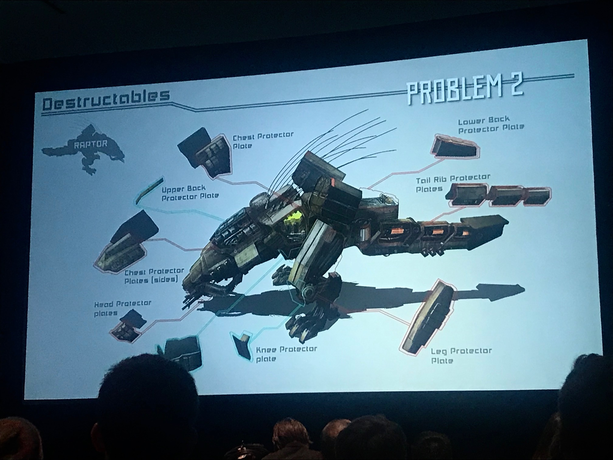A slide from Eric's talk, showing the desctructable areas of a robot