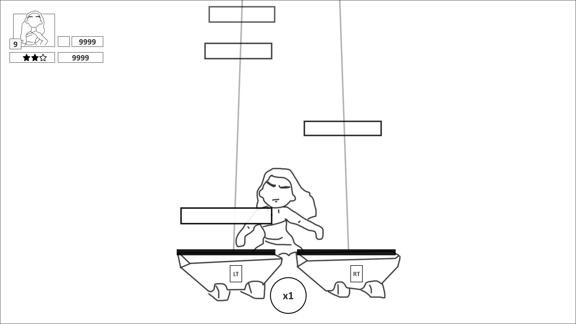 Wireframe of the Music Fale. The avatar is displayed mid-screen, with notes cascading down from top to bottom on the left and right. A score is displayed.