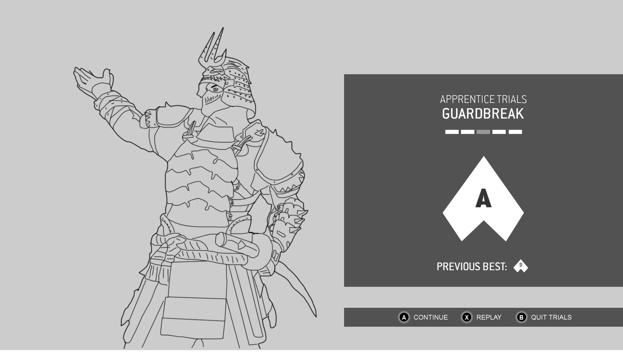 A wireframe showing the Grading Card for For Honor's trials