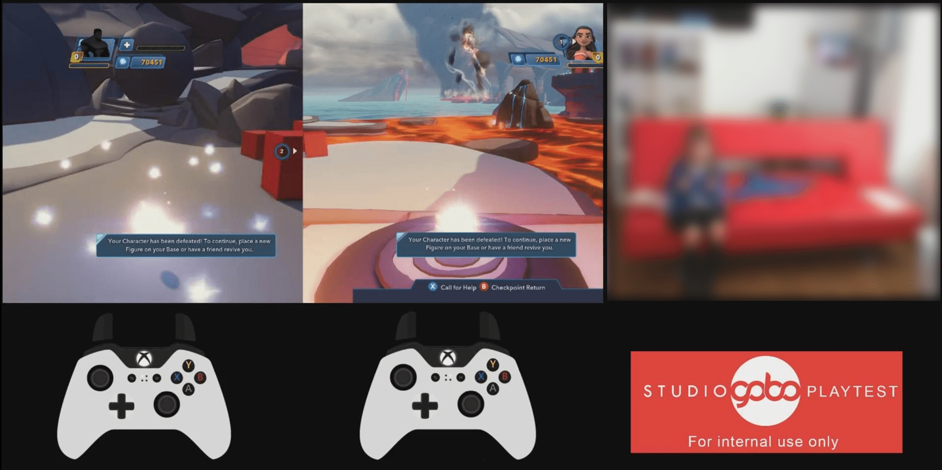A capture from a typical usability session, featuring game footage, a live room camera, and gamepads displaying inputs from players